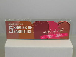bareMinerals 5 SHADES OF FABULOUS Moxie Lipstick Pallette WORK OF ART + Brush
