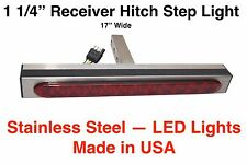 Hitch Step Light Bar S/S 1 1/4 Tongue 17Lg RV p/uTruck SUV Harley Towed Car Nerf