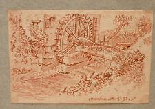 """Dessin Sanguine Début XIXe daté 1792 """" Moulin meulant """"  PDH23"""