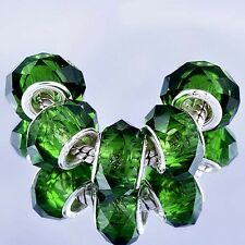 5pcs Silver Filled Green Crystal murano glass beads fit European Charms Bracelet