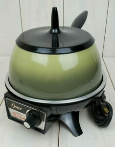 Vintage Oster Electric Fondue Pot Avocado Green 1970s Model 568A Works Made USA
