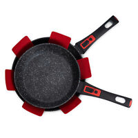 Frying Pan Set Non Stick black Marble Coated Removable Handles 24cm & 28cm