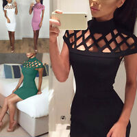 UK Fashion Womens Choker High Neck Bodycon Ladies Caged Sleeves Mini Party Dress