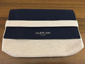 GUERLAIN Makeup Cosmetic Bag NAVY & BEIGE GOLD Fabric FOLD OVER & SNAP CLOSURE