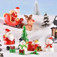 10pcs Dollhouse Miniature Christmas Tree Wreath Bear Snowman Gift  Decor Ornamen