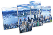 Hong Kong City Skyline CANVAS WALL ART MULTI  Box Framed