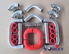 "NEW 2.5"" 64mm Aluminum Universal Intercooler Turbo Piping pipe Kit + RED hose"