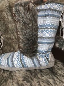Original Muk-Luks Colorful Tall Sweater Sock Slipper Boots Size XL 11-12 New