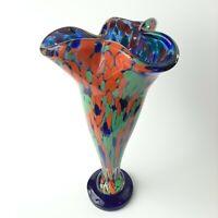 "Gorgeous Murano Glass Art Handblown Vase  Confetti Cobalt Blue Green Orange 11"""