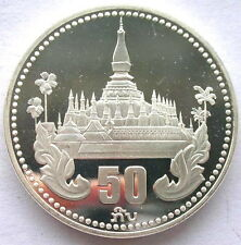 Laos 1985 Temple Towered 50 Kip Silver Coin,Proof