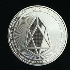 EOS Crypto currency 1.2 oz. 999. Silver Plated Collectible Novelty Coin + Case