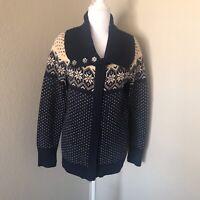 Eddie Bauer Womens MEDIUM Wool blend Cardigan Sweater Nordic Fair Isle Blue Zip