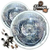 "Classic Mini 7"" Inch Pair Sealed Beam Headlights H4 Halogen Upgrade Conversion"