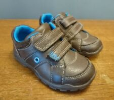 Clarks Infant Baby Boys Brown First Shoes 4.5 F Flashing Lights Leather Trainers