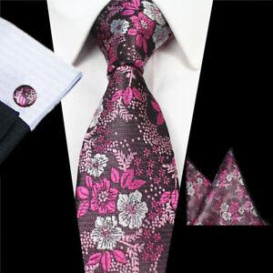 NEW 7cm Skinny Pink Floral Necktie with Matching Hankie Cufflinks Men Tie Set