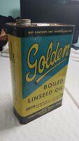 VINTAGE GOLDEN RAW LINSEED OIL TIN CAN Saskatchewan Wheat Pool 1 IMP GALLON