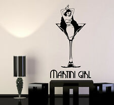 Vinyl Wall Decal Martini Girl Cocktail Stripper Retro Pin Up Stickers (2934ig)