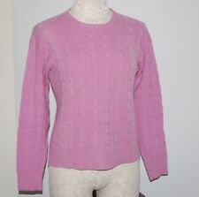 Ralph Lauren Black Label 100% Cashmere Pink Cableknit Crew Sweater S