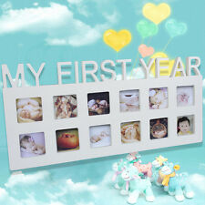 Baby MY FIRST YEAR Photo Picture Frame Display 12 Months Birthday Gift White