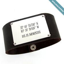 Personalized Wide Leather Cuff Bracelet for Men, ID Custom Mens Bracelet for him