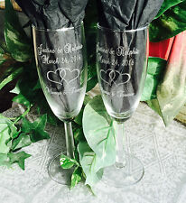 2 Personalized ETCHED 6oz Champagne Flute GLASSES, Wedding Gift, dblheart design