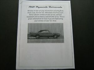 1969 Plymouth BARRACUDA dealer cost/window list sticker price for car/options 69