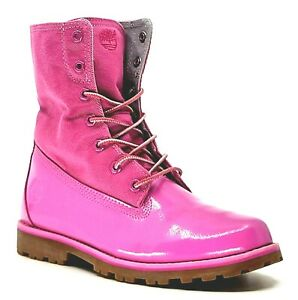 Timberland Womens Roll-Top Bright Pink Patent Leather Waterproof Ankle Boot US7