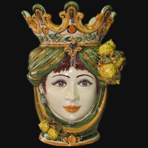 Moors kopf Weiblich Mit Zitronen Keramik Über Caltagirone Vase Aus Hand