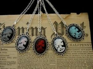 Gothic Steampunk Skull Skeleton Lady Cameo Pendant Silver Necklace Halloween