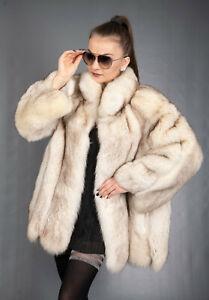 8583 GORGEOUS REAL BLUE FOX FUR COAT LUXURY FUR JACKET BEAUTIFUL LOOK SIZE XL