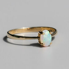 Minimalist Oval Australian Solid Crystal Opal Ring 14K Yellow Gold Band