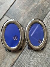 Lovely Pair Oval Metal Effect Frame Picture Photo Freestanding Or Wall Hanging