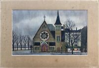 City View - Drawing - Architecture Church - Signed - like a Buffet 30 x 49