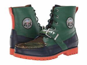 Polo Ralph Lauren Ranger Boots Green Navy Orange Camo Mens Size 8 New