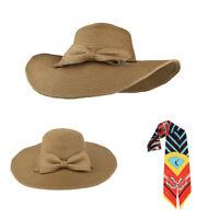 Folding UV Protection Wide Brim Cap Floppy Fedora Hat Women Bowknot Straw Cap US