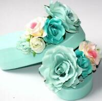 Womens Beach Flower Wedge Heels Flip Flops Platform Chic Slippers Shoes Sandals