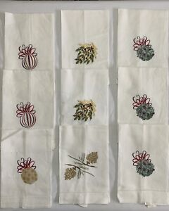 Christmas Embroidered 9 White Linen Hand Towels Holiday Ornament NWT Vtg