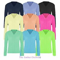 Ladies Womens Top Knitwear Plain Chunky Cable Knitted V Neck Long Sleeve Jumper