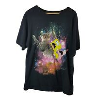 Mens Spongebob Squarepants T Shirt Black Large L Cat Space Nickelodeon Squidward