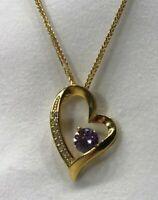 Halskette mit Anhänger 24 Karat vergoldet 925 Sterling Silber Herz Zirkonia Gold