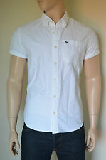 NEW Abercrombie & Fitch Morgan Mountain White Short Rolled Sleeve Oxford Shirt M