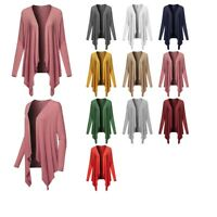 FashionOutfit Women's Casual Solid Ribbed Open Front Long Sleeve Knit Cardigan
