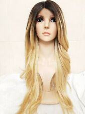 Brazilian Blonde Human Hair Wig, Real Hair, side part fringe, Ombré, Dark Roots