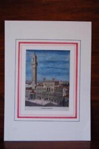 Veduta Del palazzo comunale di Siena xilografia originale colorata a mano d'epoc