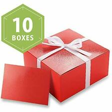 10 Pcs Red Gift Boxes 8x8x4 Inches, Bridesmaid Boxes, Paper With Lids For Gifts,