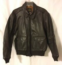 VTG Avirex Type A2 Dark Brown Goat Leather Military flight jacket Sz 44 Fits S/M