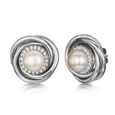 Titanio Espirales Perla Pendientes & Piedras De Circonita