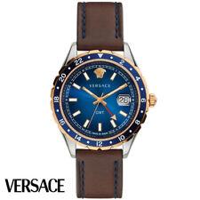 Versace V11080017 Hellenyium GMT blau silber roségold braun Leder Herren Uhr NEU