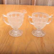 Vintage Glass Panel Pattern Footed Clear Cream and Sugar