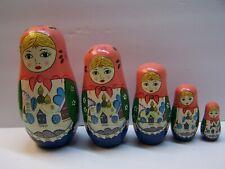 5 Pc Nesting Doll Set Burnt Wood & Country Houses Girls W/ Blue Eyes B2